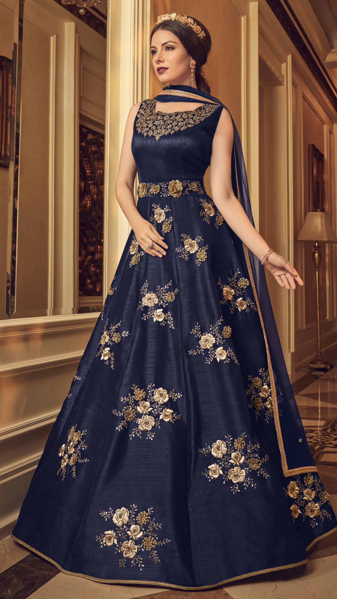 4749376abd7e Fabulous Navy Blue Color Silk Designer Anarkali Suit #Blue#grey #anarkali # anarkalisuit #suit #salwar #salwarsuit #wedding #bridal #bride #ethnic # designer ...