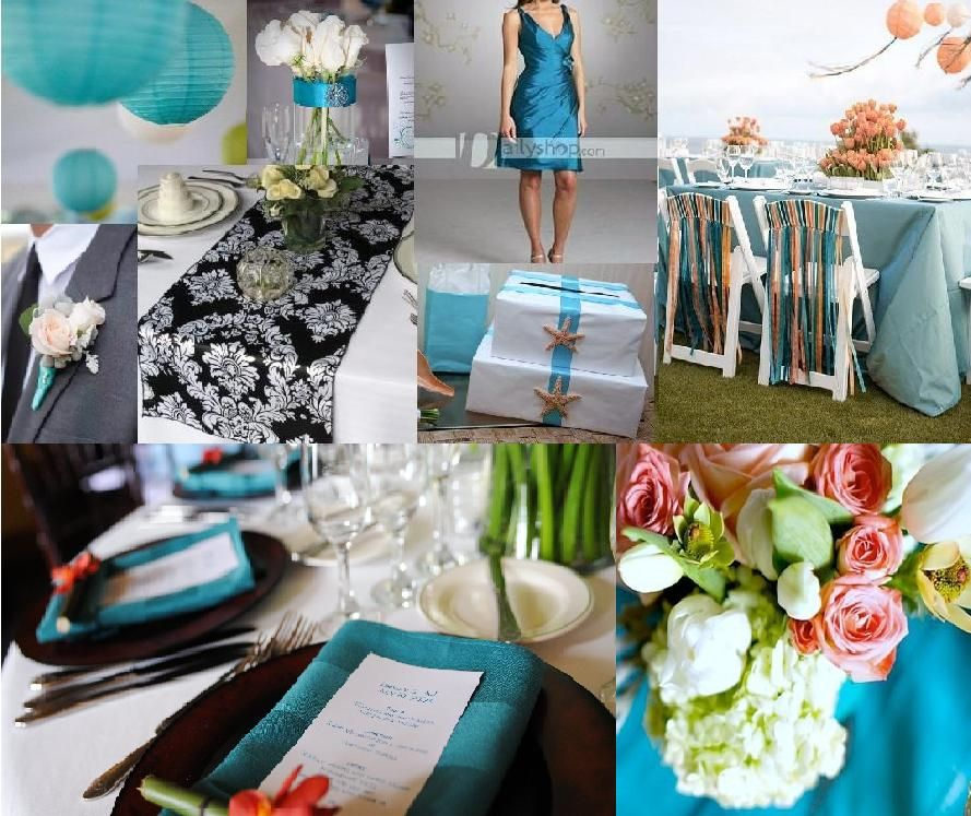 Wedding Inspiration: Teal, White, Black, Peach Accent. All Compiled Into One
