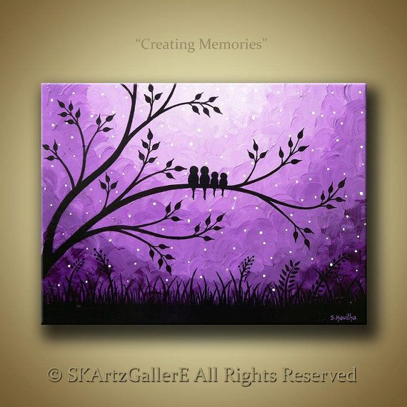 Famille d 39 oiseaux dans les arbres paysage original peinture acrylique sur toile violet - Paysage peinture facile ...