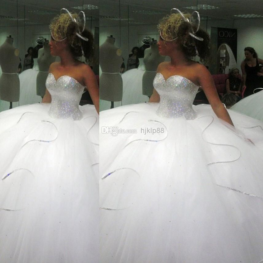Discount 2014 bling bling big poofy wedding dresses custom for Big tulle ball gown wedding dress