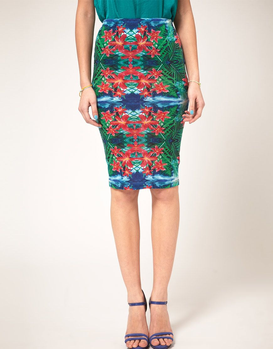 #Asos pencil skirt in mirror tropical print