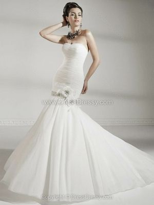 Trumpet/Mermaid Sweetheart Tulle Satin Floor-length Ruffles Wedding Dresses -$298.69