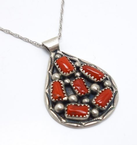 American indian sterling silver signed tommy moore red coral pendant american indian sterling silver signed tommy moore red coral pendant necklace aloadofball Images