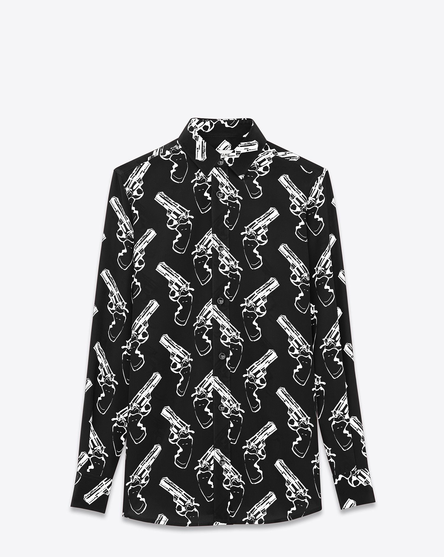 18f4a5289dd Saint Laurent Oversized Paris Collar SHIRT IN Black And White Gun Pop  Printed Silk CRÊPE