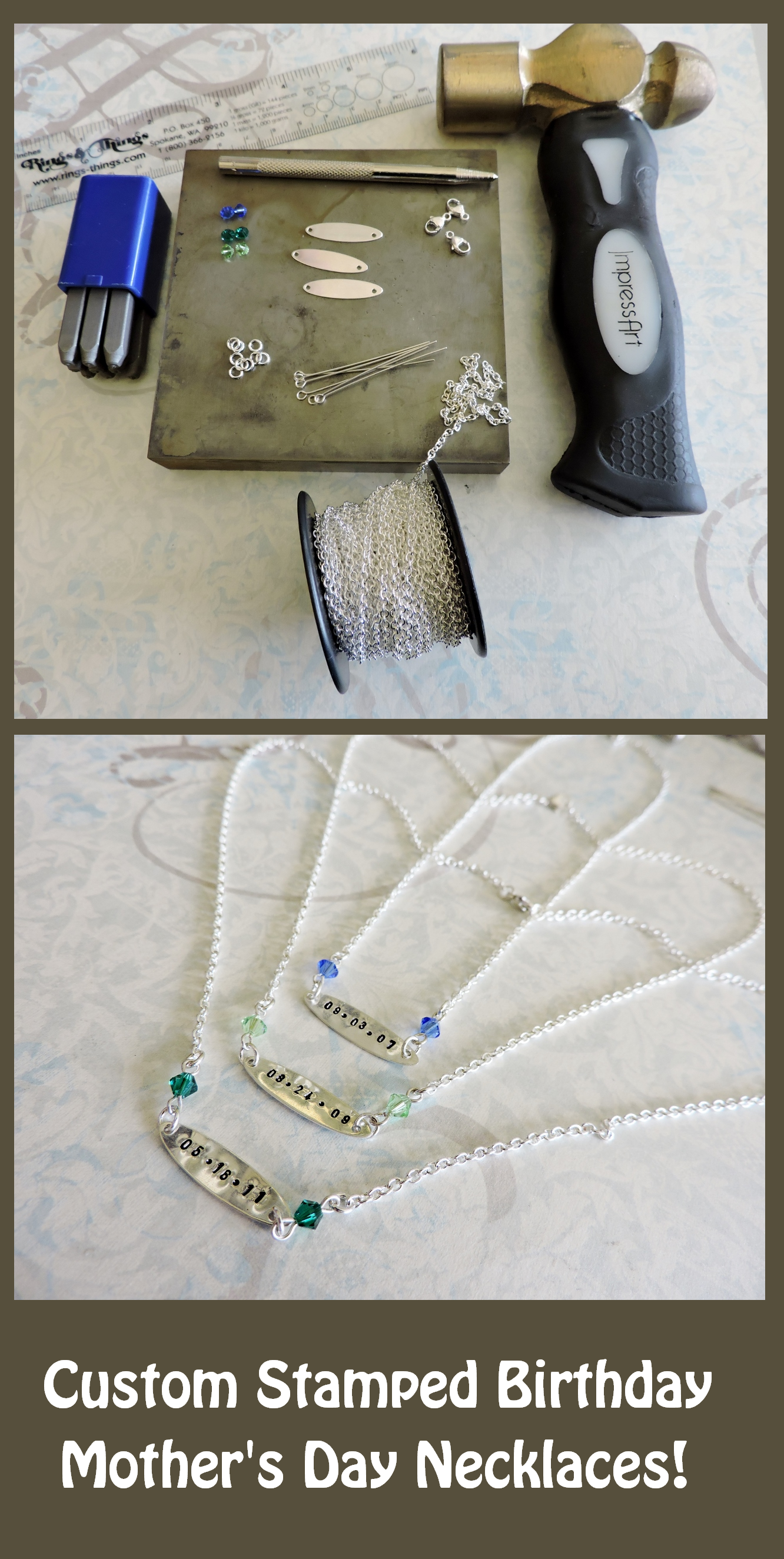 Mother's Day Necklace Project! http://www.rings-things.com/blog/2015/04/07/custom-mothers-day-necklaces-with-birthdays-and-birthstones/