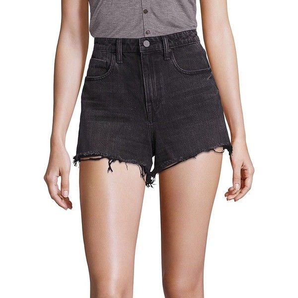 800b8484615 Alexander Wang Women s Bite High Rise Frayed Shorts ( 200) ❤ liked on Polyvore  featuring