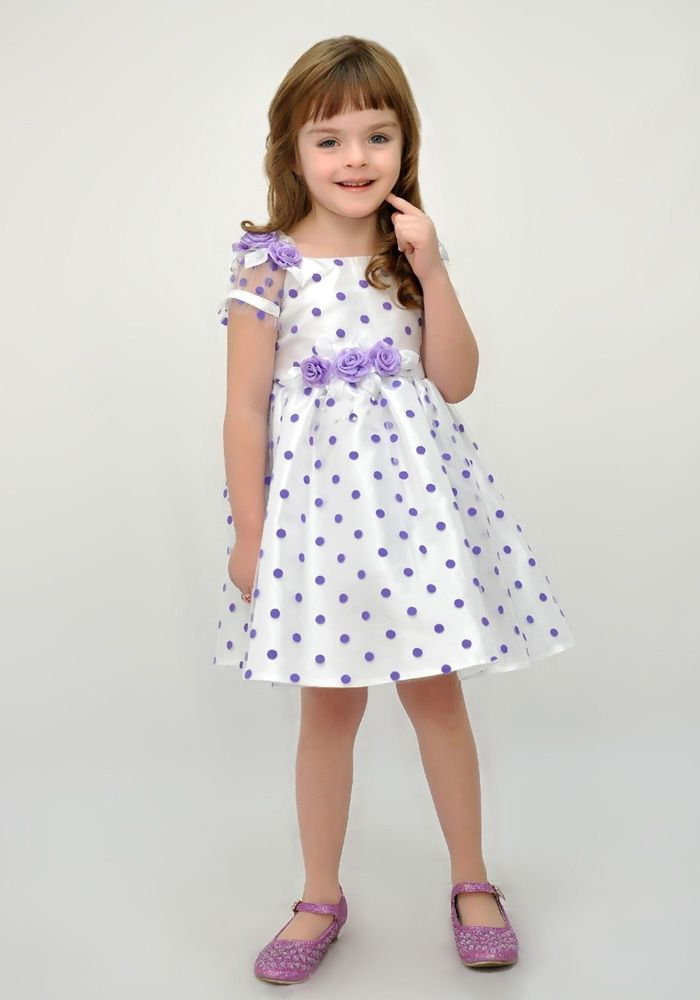 Нарядное платье белого цвета в сиреневый горох | Платья ...