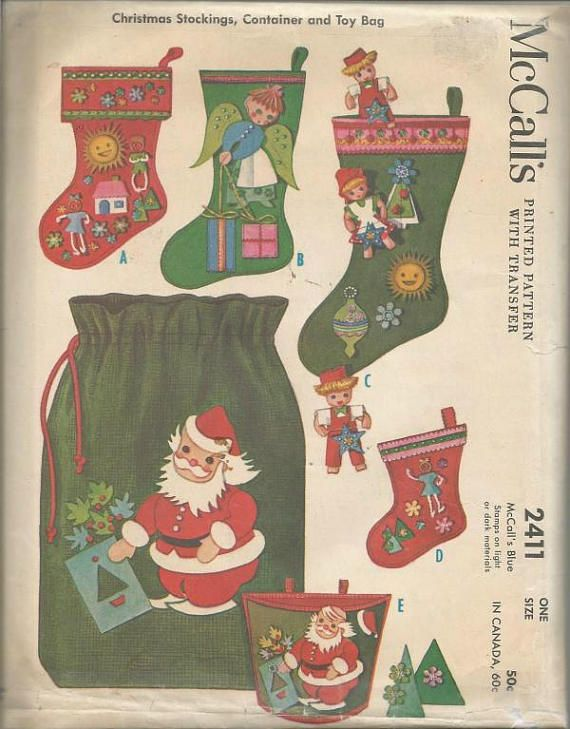 1960s Christmas Stockings Toy Bag Container Pin On Dolls Mccalls