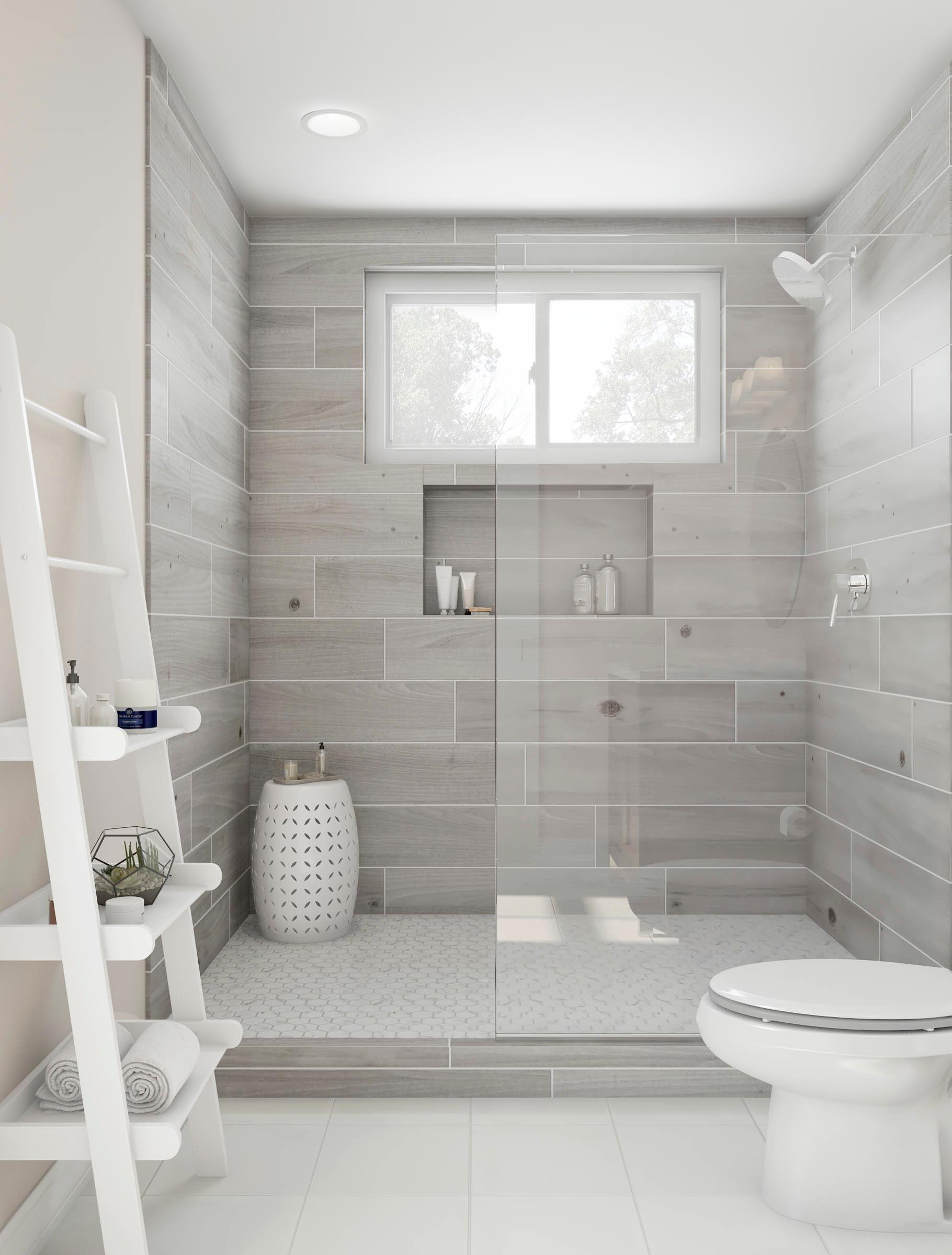Geniessen Sie Diese Wunderschone Ebenerdige Dusche Aschgraue Kacheln Und Eine Romische Mauer Gebunden In 2020 Mit Bildern Badezimmer Renovieren Modernes Badezimmerdesign Badezimmer Umgestalten