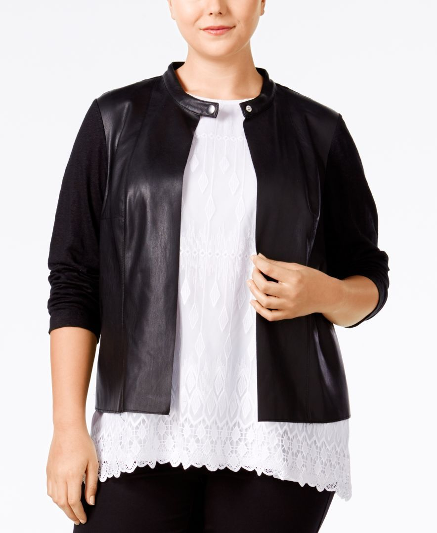 Alfani plus size fauxleather mixedmedia jacket only at macyus