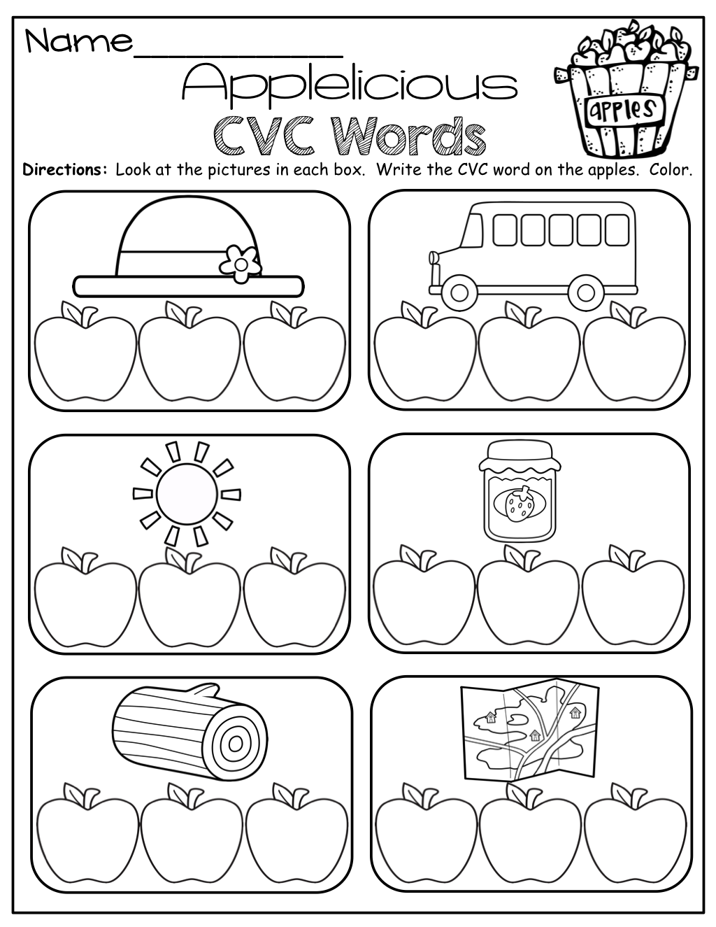 CVC Words! Write the letter to match the picture for each CVC word ...