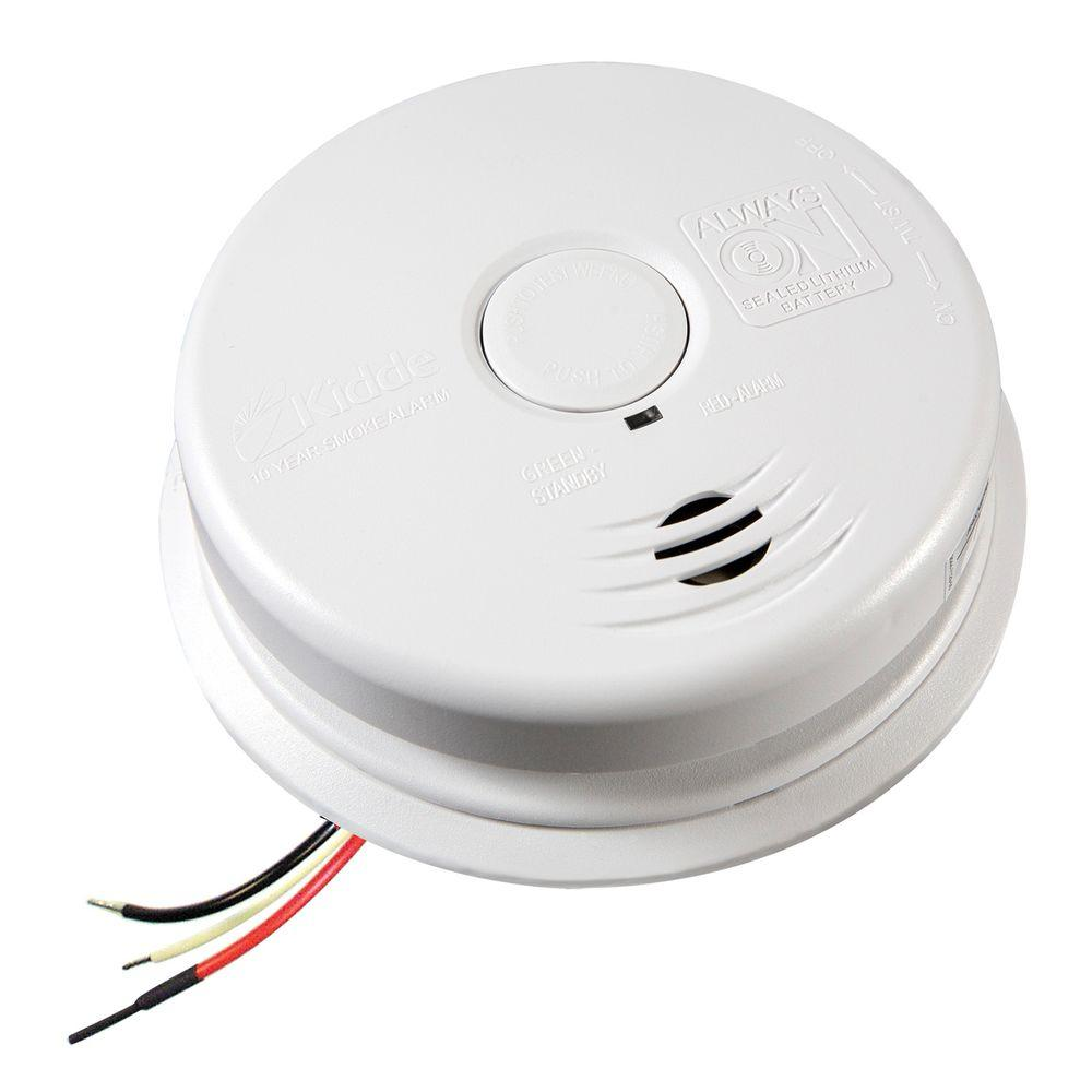 Kidde 10 Year Worry Free Hardwire Smoke Detector With Battery Backup 21010407 A The Home Depot In 2020 Battery Backup Smoke Alarms Detector