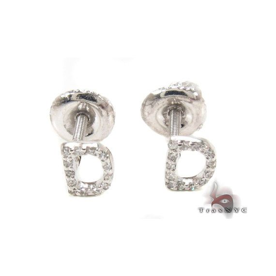 Prong Diamond Initial 'D' Earrings 32630 by Traxnyc on Etsy