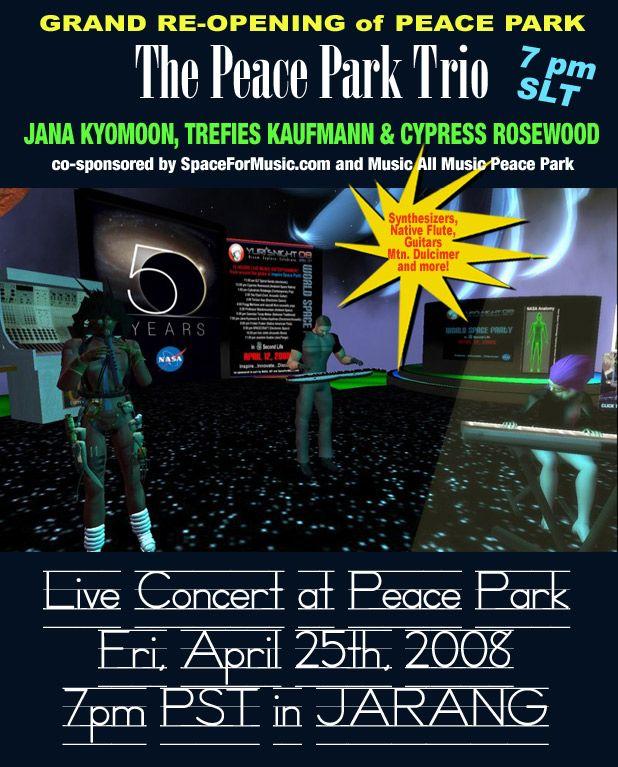 The Peace Park Trio - Cypress Rosewood aka Tony Gerber, Trefies Kaufman aka Stephen Seifert and JaNa KYoMooN aka JaN PuLSFoRD performing at the music ALL music Peace Park 2008
