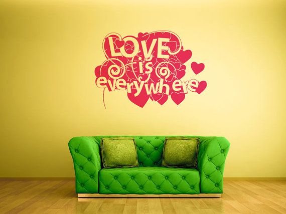 Wall decal Love, Hearts wall sticker, Love wall sticker, Vinyl wall ...