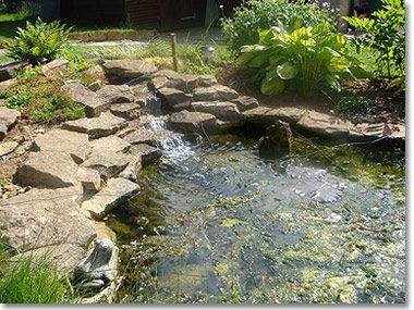 Small Pond Waterfall Ideas Pond With Waterfall And Rockery Garden Pond Design Pond Waterfall Small Ponds