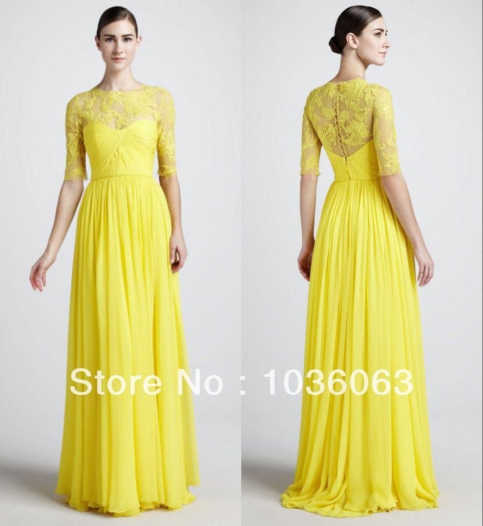 2014 Best selling Yellow Lace Chiffon Modest High Neck Long ...