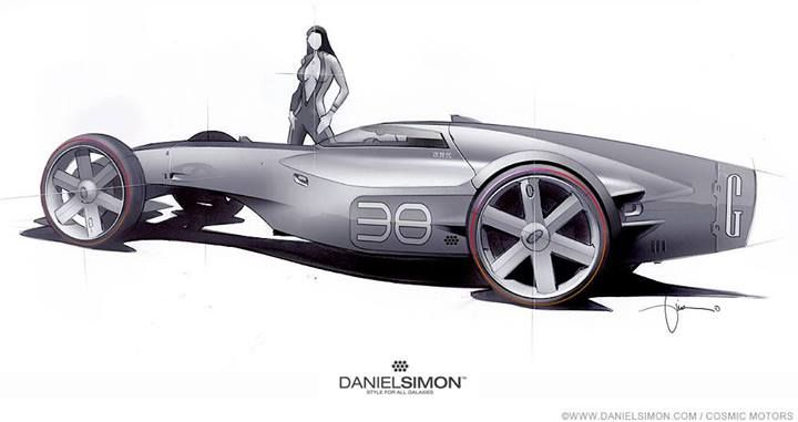 "Daniel Simon - single seater concept for the ""Gravion"" racer. For the book ""Cosmic Motors"""