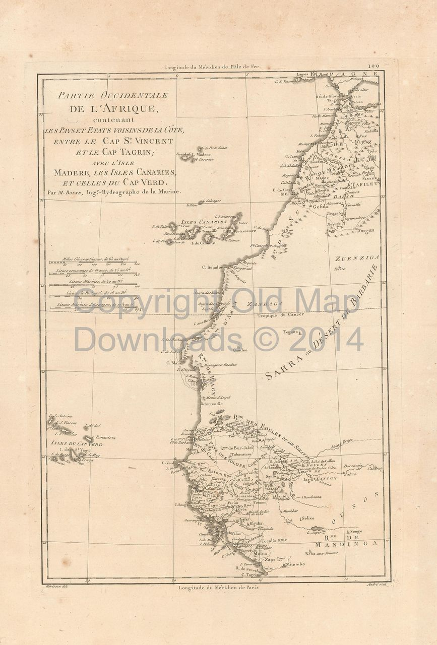 Morocco Mauritania Old Map Bonne Digital Image Scan Download - Mauritania map download