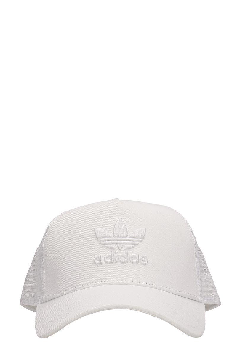 916dd511 ADIDAS ORIGINALS WHITE COTTON TRUCKER TREFOIL CAP. #adidasoriginals ...