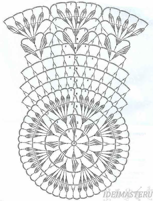Салфетка,вязанная,крючком,круглая,схема,описание,бесплатно
