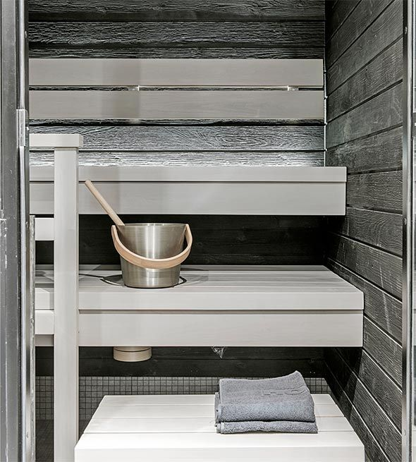 sauna harmaa seinä valkoiset lauteet  Google haku  Sauna  Pinterest  Koti