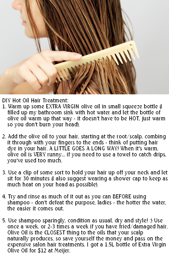 my D.I.Y.  hot oil hair treatment (better than ANY expensive salon treatment)! take it from a hairstylist!!!