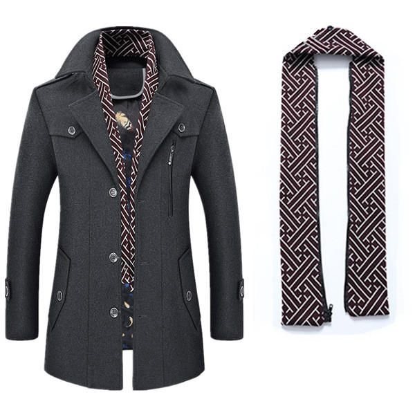 e562e7dfe Only US$145.94 shop men's thick wool detachable scarf trench coat casual  business pea coat top coats at Banggood.com. Buy fashion trench online.