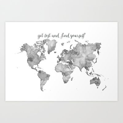 Grayscale watercolor world map get lost and find yourself art print grayscale watercolor world map get lost and find yourself art print by blursbyaishop 1700 gumiabroncs Image collections