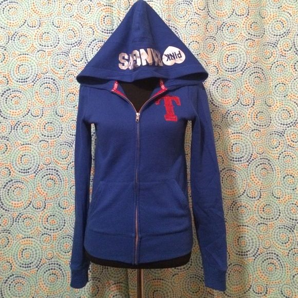 VS Pink Rangers Zip Up Jacket Lightly used. Royal blue. The T on the front has sequins so does the red letters on the back. The letters on the back are silver. All in great condition. Only flaw is the lining of the pockets. They are pilling pretty bad. But doesn't look awful or anything. PINK Victoria's Secret Jackets & Coats