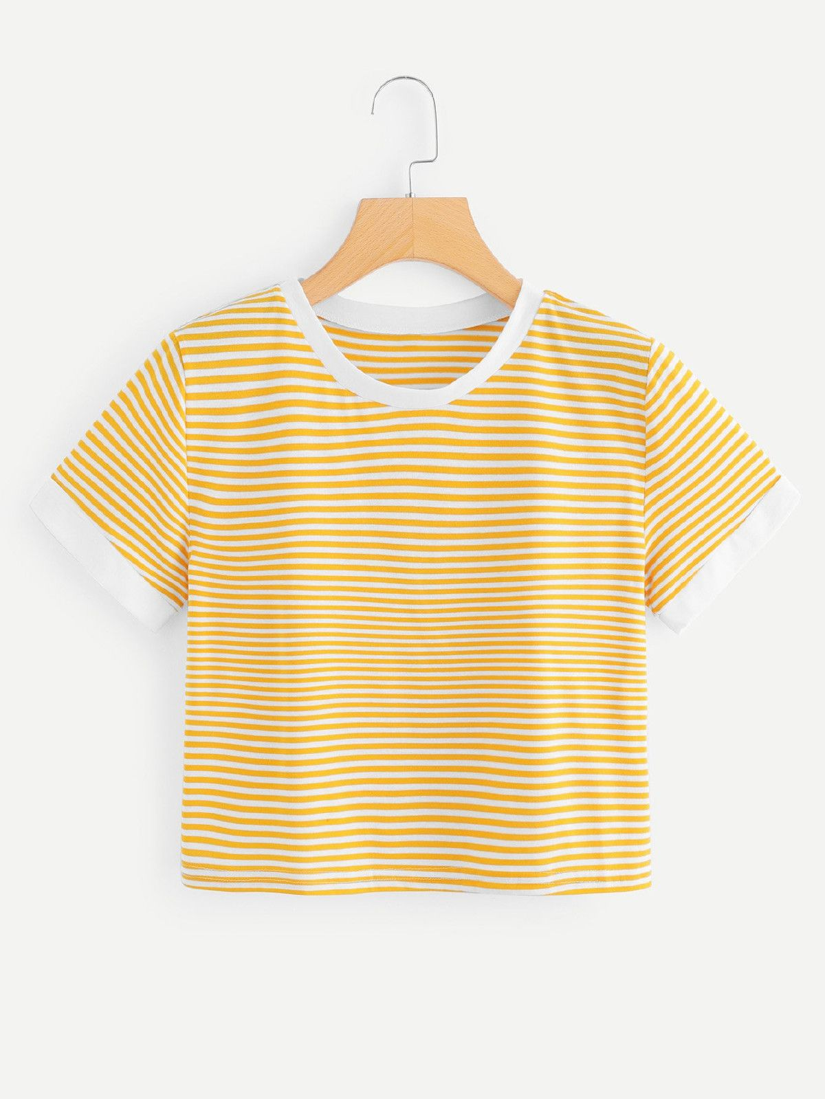 e87bdc9d9 Contrast Trim Striped TeeFor Women-romwe. Contrast Trim Striped TeeFor Women -romwe Shirt Outfit, Outfits With Striped Shirts, Yellow