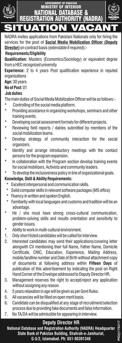 Nadra Jobs  In Islamabad For Deputy Director HttpWww