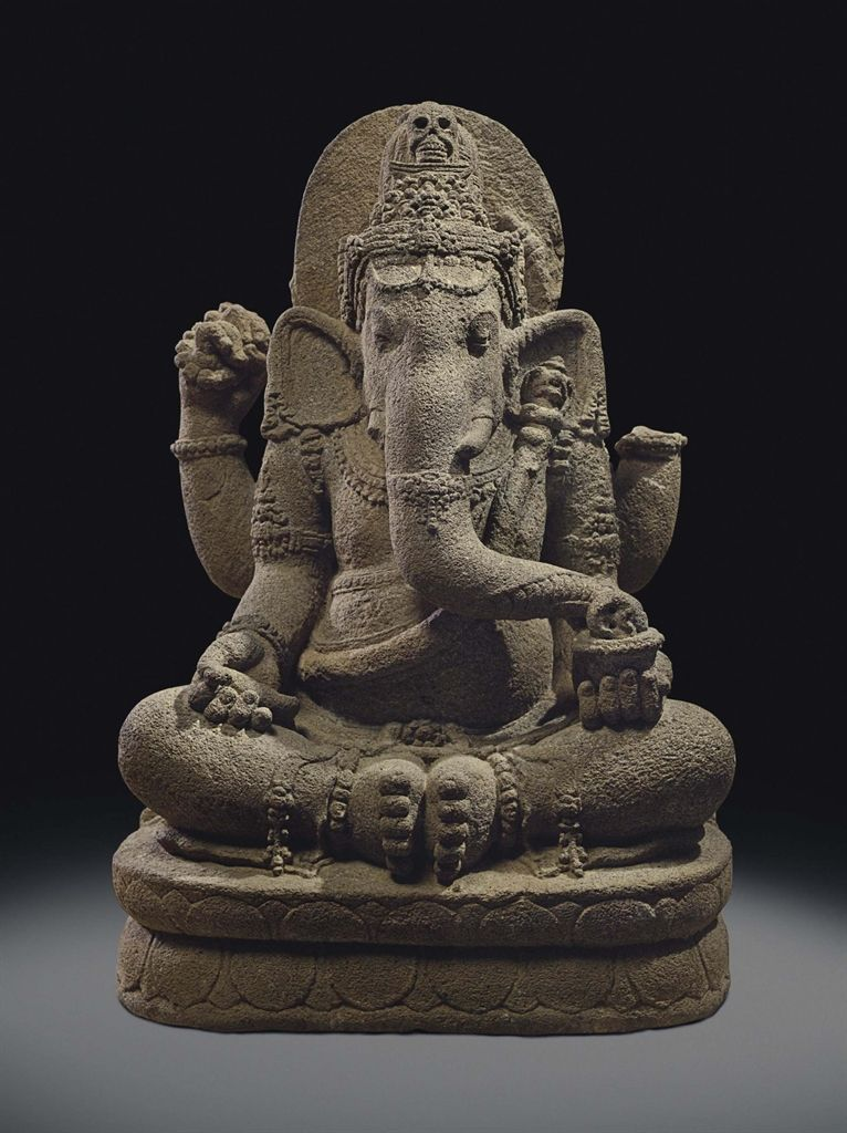 A volcanic stone figure of Ganesha. Indonesia, Central