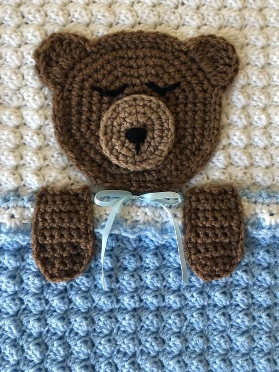 Crochet PATTERN - Teddy Bear Bedtime Blanket; Teddy Bear Baby Afghan Blanket; Bear Blanket Pattern; Woodland Themed Blanket, PDF Download #babyteddybear