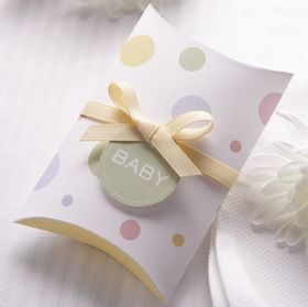 12 pillow favor boxes with coordinating ribbon and Baby tag. Great for Baby Showers, small gifts and more! #timelesstreasure
