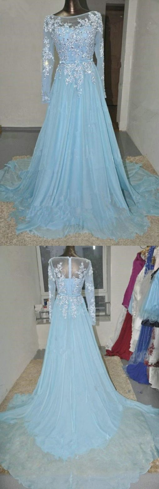 Blue prom dresses long prom dresses baby blue long sleeves lace