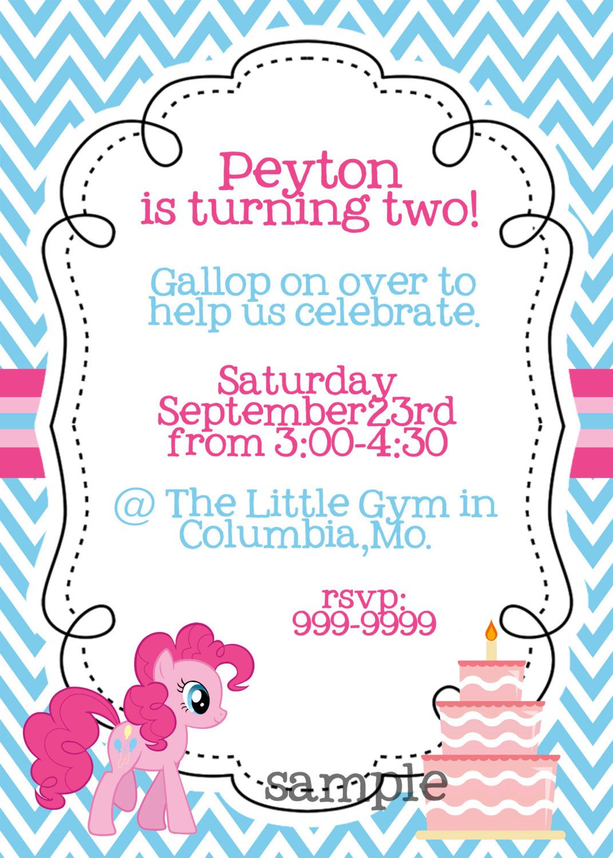 My Little Pony Pinkie Pie printable birthday invitation | Parties ...