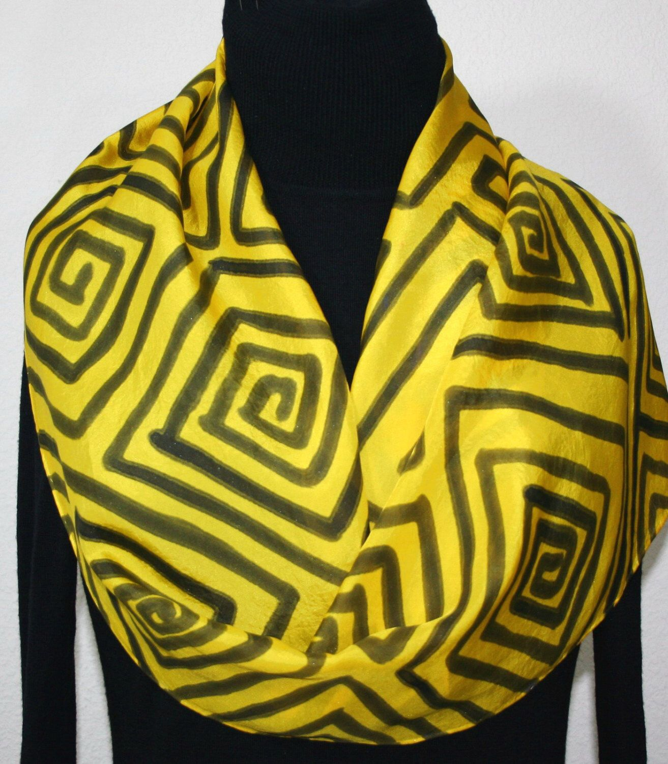 Silk Scarf Hand Painted Silk Scarf Yellow Black Silk Scarf Handmade Silk Scarf SUNRISE MAZE Size 11x60 Birthday Gift Scarf Gift-Wrapped by SilkScarvesColorado on Etsy https://www.etsy.com/listing/91379376/silk-scarf-hand-painted-silk-scarf