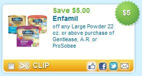 Enfamil Printable Coupon: Save $5 on Gentlease, A.R. or ProSobee Infant Formula