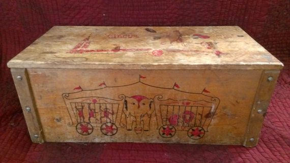 Antique Wooden Child S Circus Toy Box By Oldhousechic On Etsy 70 00 Circus Toy Toy Boxes Wooden Toy Boxes