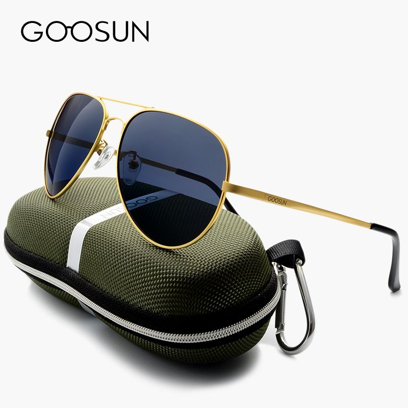 b5472f78e27 GOOSUN HD Polarized Sunglasses Men Polaroid luxury Brand Design Fishing  Driving vintage Sun glasses Male Gold