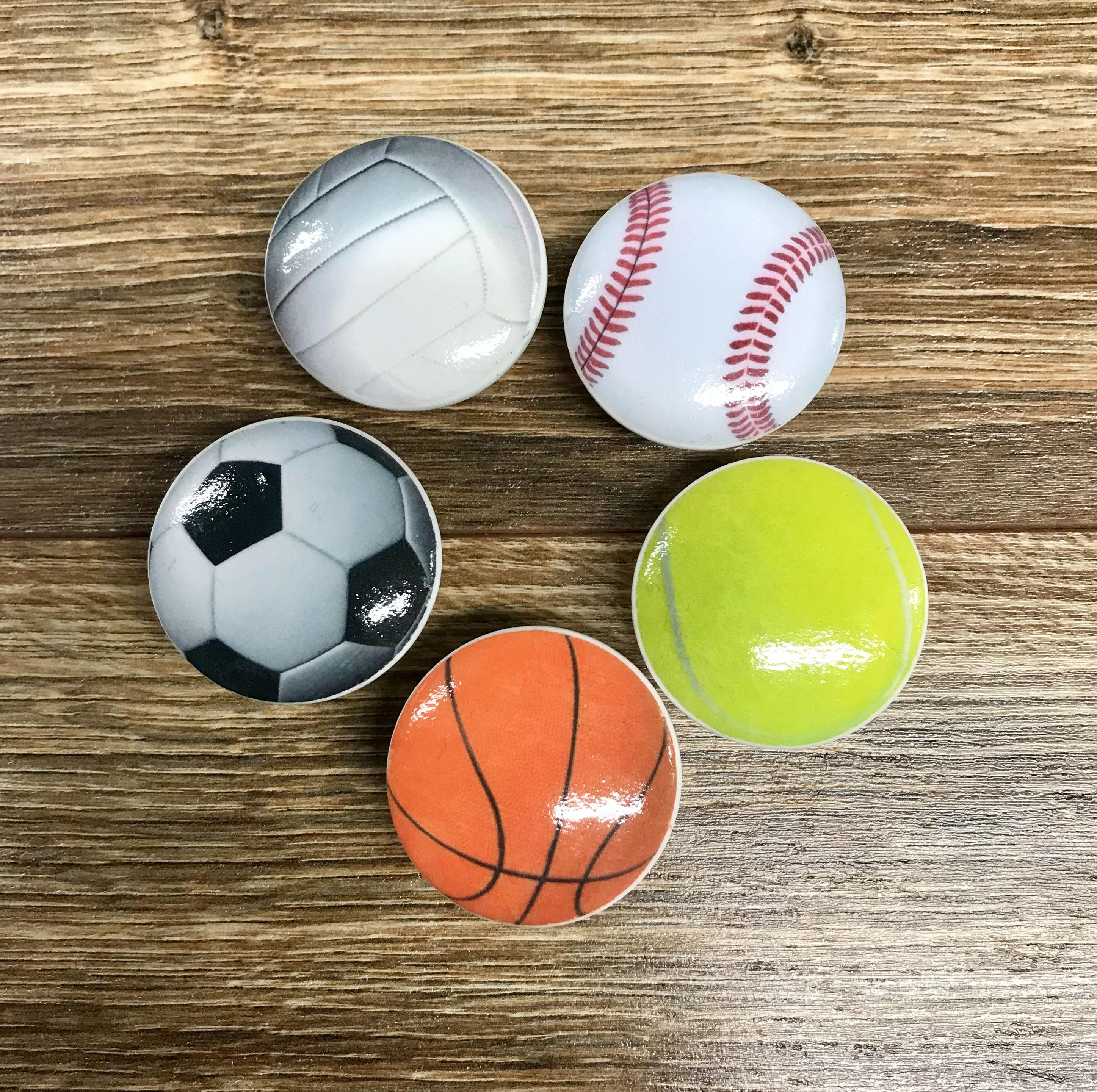 1 5 Sports Themed Cabinet S Drawer Pulls Baseball Basketball Volleyball Soccer Football Tennis Ball By