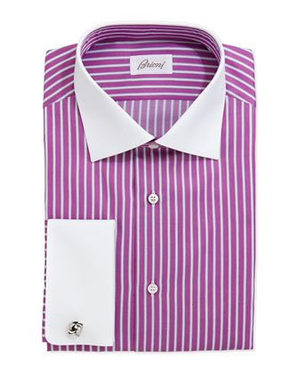 Contrast-Collar Striped Dress Shirt, Magenta/White by Brioni at Neiman Marcus.