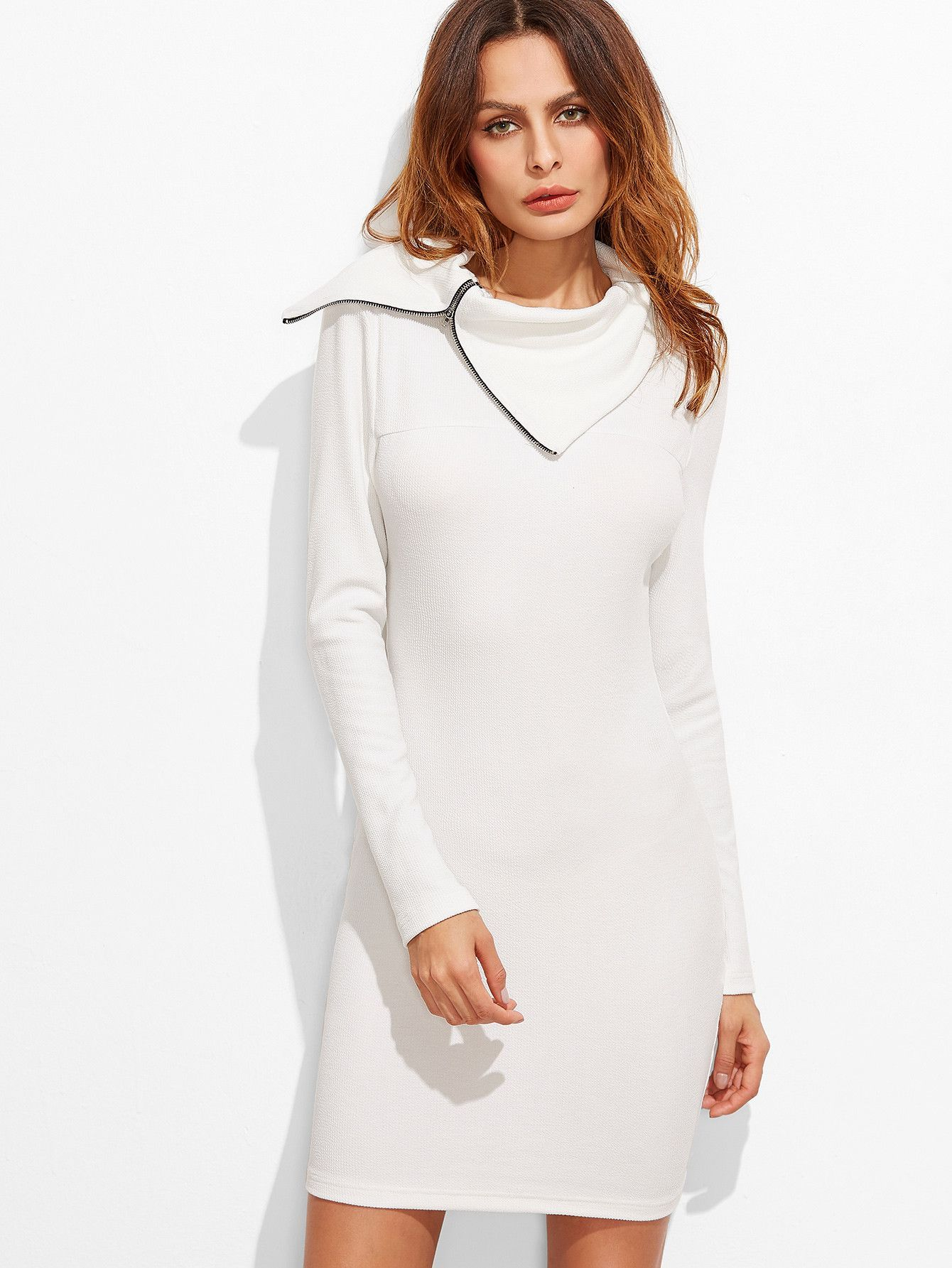 White Bodycon Zipper Turtleneck Dress (With images