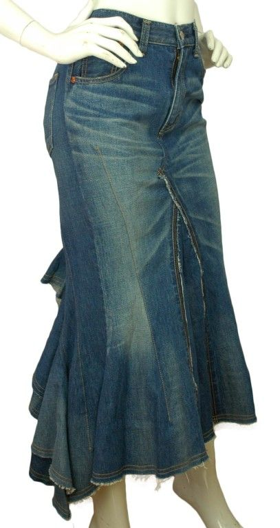 52868080a1 JUNYA WATANABE Denim Long Skirt With Back Ruffle | From a collection of  rare vintage skirts