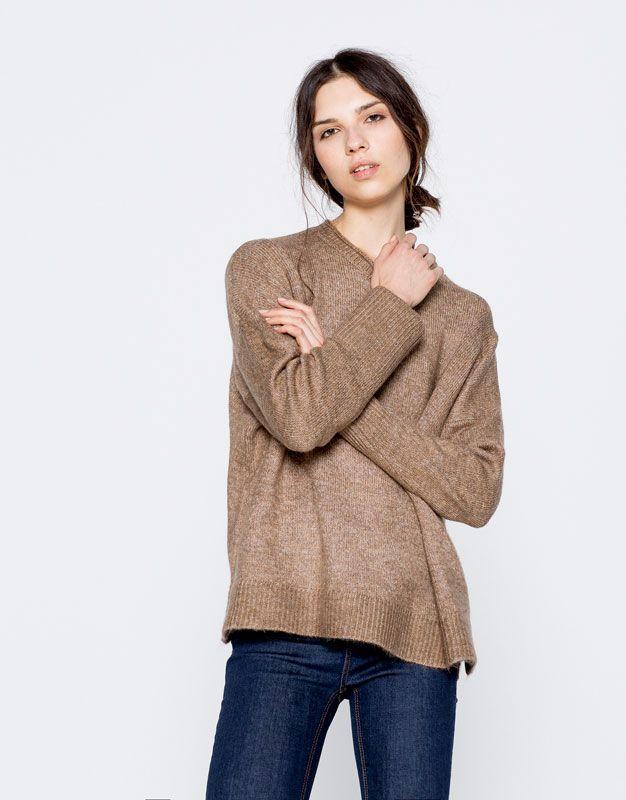 Sweter o kwadratowym kroju - Dzianina - Odzież - Dla Niej - PULL&BEAR Polska