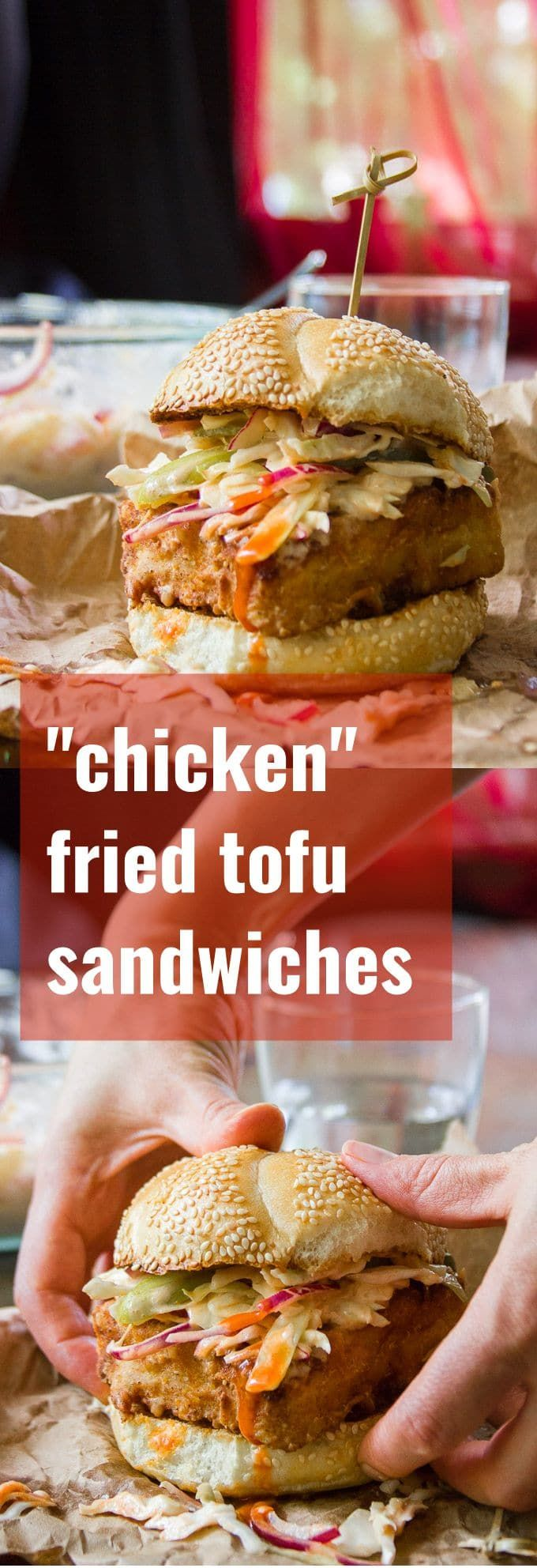 Chicken Fried Tofu Sandwiches with Spicy Buffalo Slaw - Connoisseurus Veg