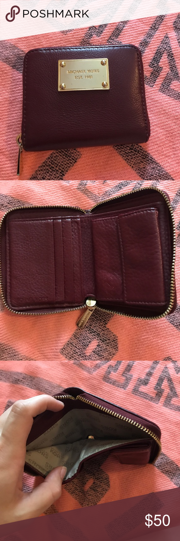 9b4aedc94ac8 Price Drop Michael Kors Small Wallet Price Firm! Wine Colored Michael Kors  Small Wallet. Gold Hardware. One Bill Compartment, Four Card Slots, ...