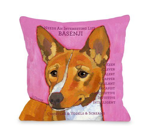 One Bella Casa Basenji 1 Pillow, 26 by 26-Inch
