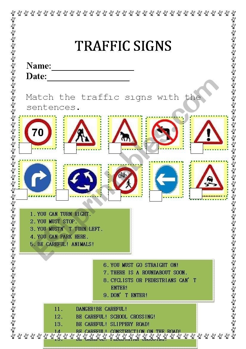 Traffic signs and road safety worksheet Traffic signs